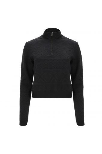Black Norwegian motif shirt with a zip