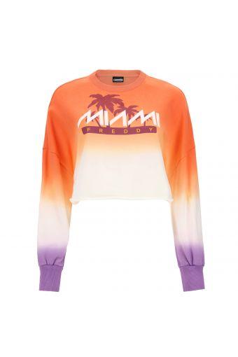 "Cropped dégradé comfort-fit sweatshirt with a ""Freddy Miami"" print"