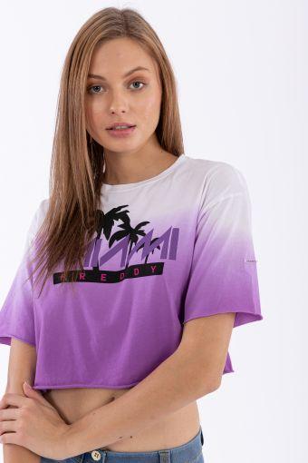 "Oversize cropped dégradé t-shirt with a ""Freddy Miami"" print"