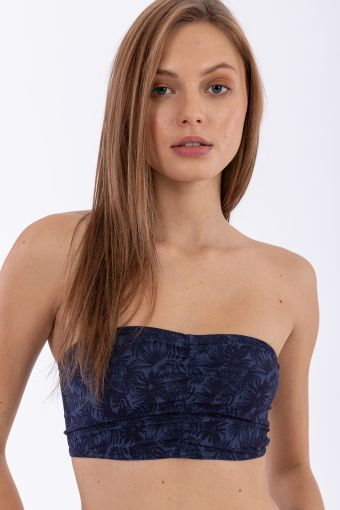 Floral jacquard bandeau top gathered at the front