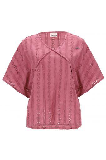 Kimonoartiges Vintage-T-Shirt mit Broderie Anglaise und Komfort-Fit-Passform