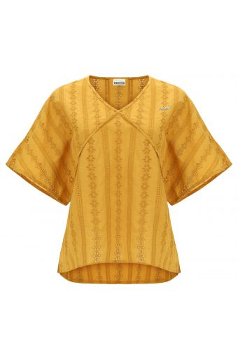 Vintage-style comfort-fit kimono t-shirt in broderie anglaise