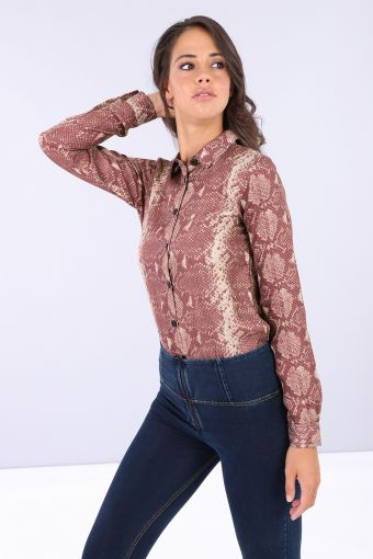 Bodysuit with a snake print collared shirt