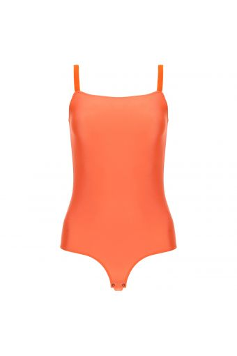 Jersey bodysuit with a square neckline and stretch straps