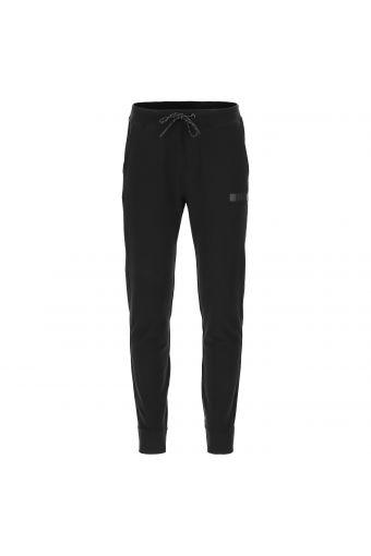 Pantaloni sportivi elasticizzati neri con fondo a polsino