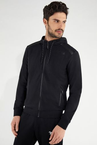 Black hoodie with tone-on-tone details