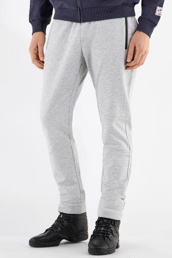 Melange grey fleece tapered trousers with zip pockets
