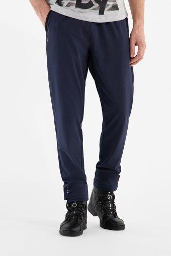 Pantaloni sportivi elasticizzati blu scuro a fondo dritto