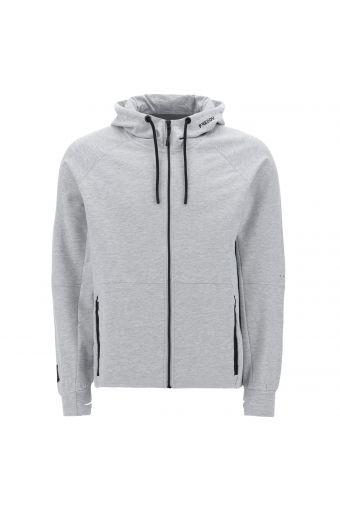 Melange grey hoodie with black details