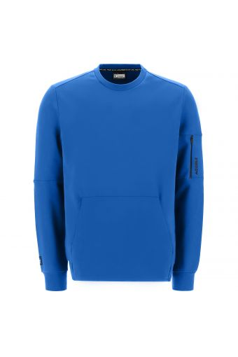 Crew neck stretch sweatshirt with a pocket on the sleeve