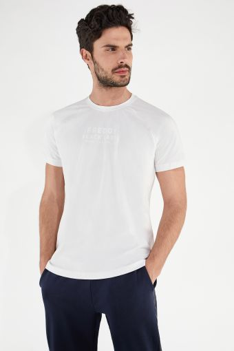 Stretch t-shirt with raised lettering