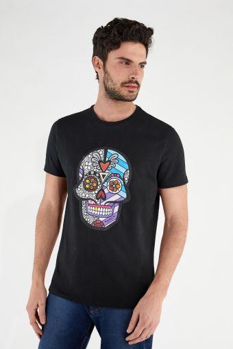 T-shirt pour homme avec crâne imprimé, collection Romero Britto