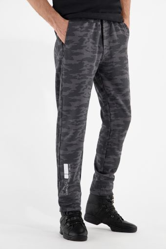 Pantaloni sportivi in felpa leggera camouflage grigio scuro