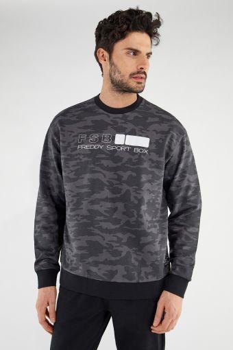 Dark camouflage comfort-fit crew neck sweatshirt