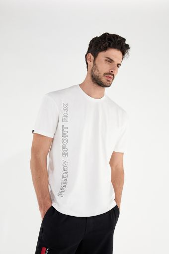 T-shirt comfort con stampa verticale in outline