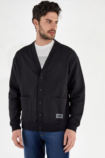Black comfort-fit French terry cardigan