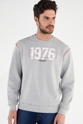 Comfort-fit sweatshirt with contrast topstitching