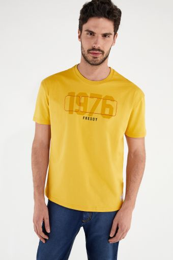 Comfort-fit t-shirt with a tone-on-tone print and a contrast No Logo logo