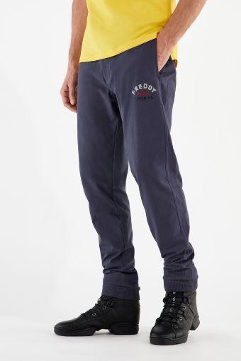 Pantaloni sport elasticizzati con coulisse e fondo a polsino