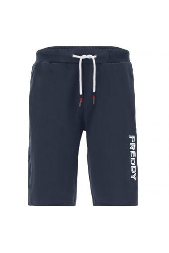 Stretch Bermuda shorts with a vertical print