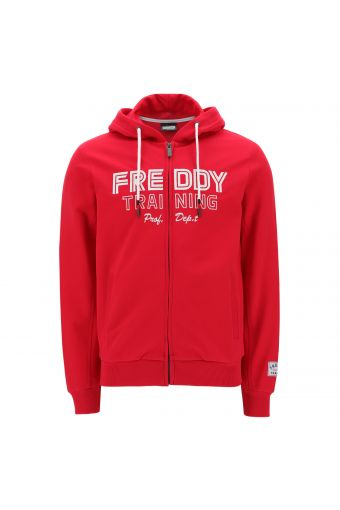 Lightweight zip hoodie with a large print