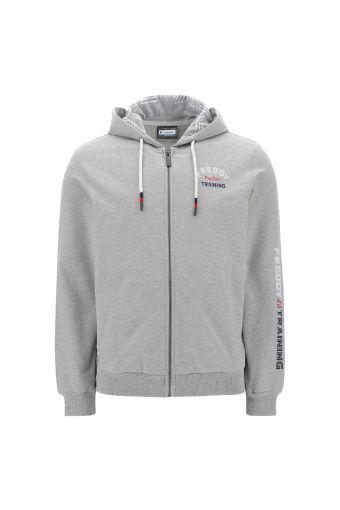 Melange grey FREDDY TRAINING sweatshirt with a lined hood