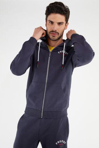 FREDDY TRAINING Stretch-Sweatshirt mit gedoppelter Kapuze