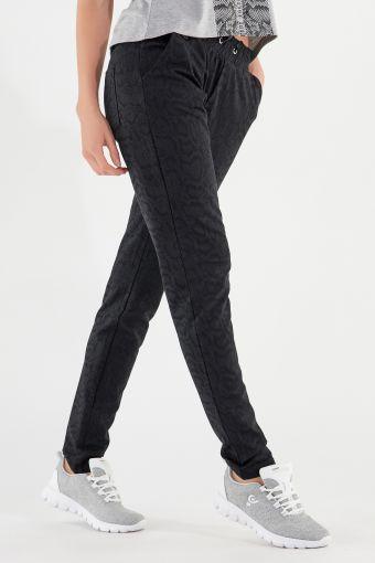 Black snake print fleece trousers