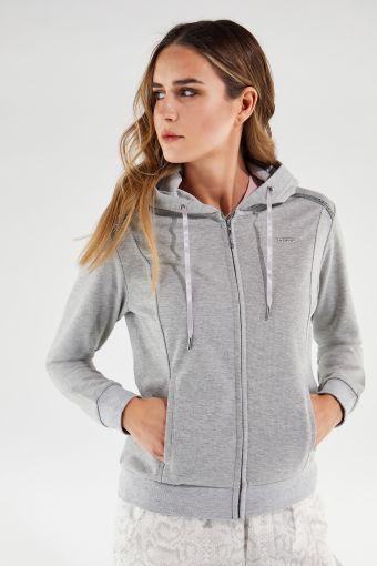 Melange-Sweatshirt mit Kapuze und Schmuckverzierungen