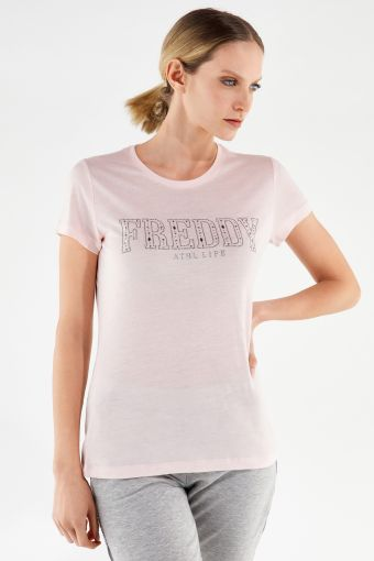 Eco-friendly t-shirt with micro studs and rhinestones