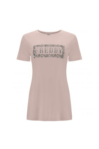 Comfort-ft t-shirt in plant-based fabric with a FREDDY glitter print