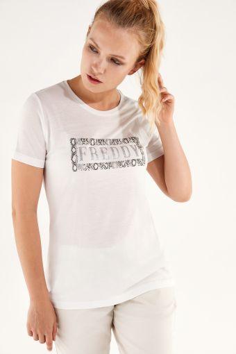 Komfort-T-Shirt aus pflanzlicher Faser mit FREDDY-Aufdruck aus Glitzer