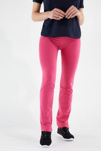 Pantaloni fondo dritto con decorazione in strass e plastisol