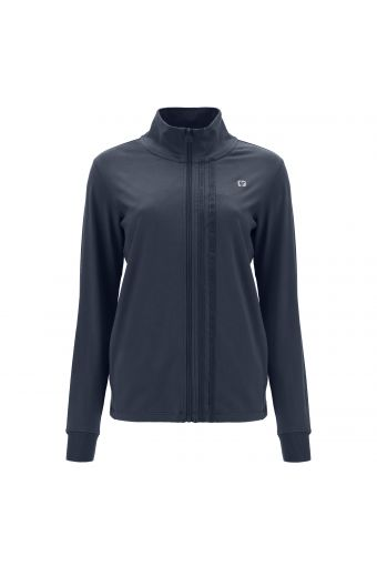 Zip-front comfort-fit sweatshirt with a high neck and jacquard ribbons