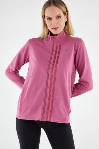 Komfort-Sweatshirt mit Reißverschluss, hohem Kragen und Jacquard-Bändern