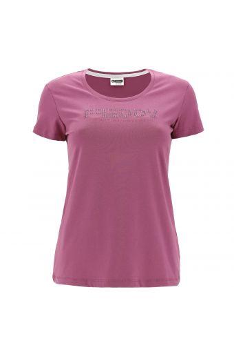 T-Shirt THE ART OF MOVEMENT mit Strasssteinen und glänzendem Aufdruck