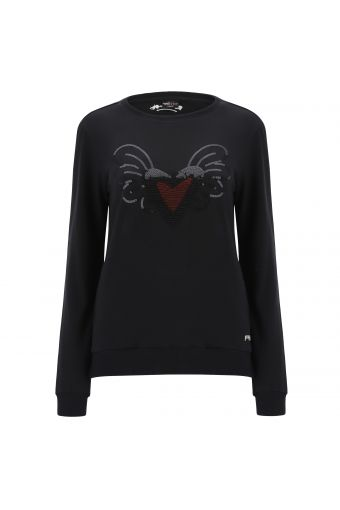 Crew neck sweatshirt with winged hearts - Romero Britto Collection