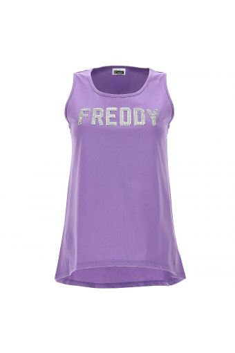 Tank top with a silver sequin FREDDY logo