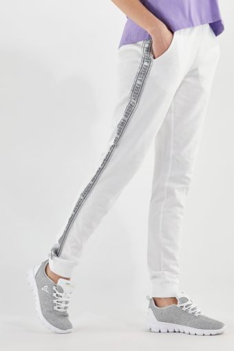 Lightweight athletic trousers with silver lateral bands