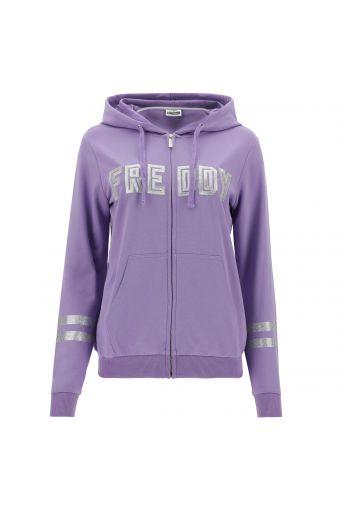 Leichtes Komfort-Sweatshirt mit Kapuze und silbernen Verzierungen