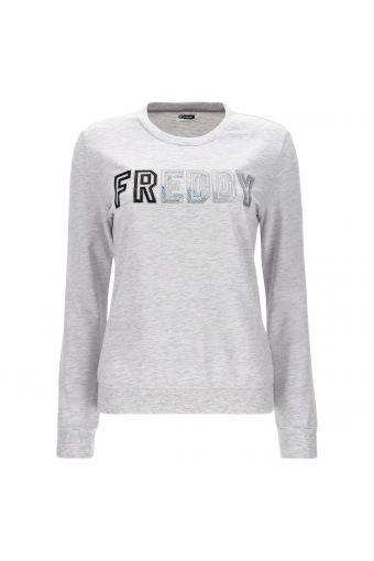 Lightweight melange crew neck sweatshirt with a sequin logo