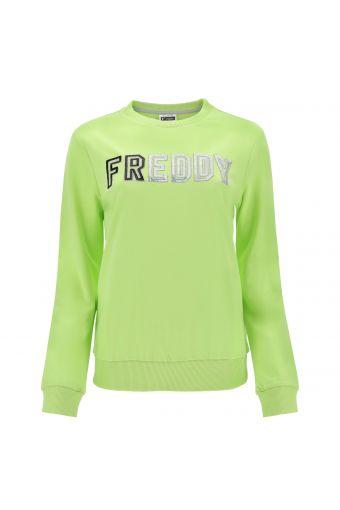Lightweight crewneck sweatshirt with sequin FREDDY lettering