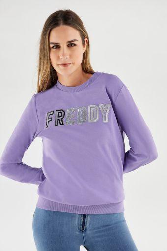 Leichtes Rundhals-Sweatshirt mit FREDDY-Logo aus Pailletten