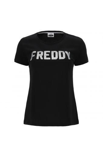Camiseta en tejido de punto ligero con logotipo FREDDY de lentejuelas