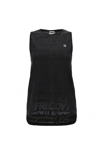 Comfort-fit mesh athletic tank top with an all-over Freddy print
