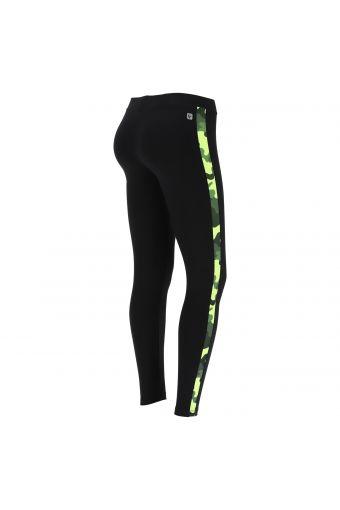 Leggings fitness avec bande latérale en camouflage fluo