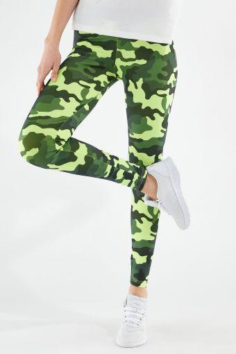 Leggings fitness in tessuto traspirante camouflage fluo