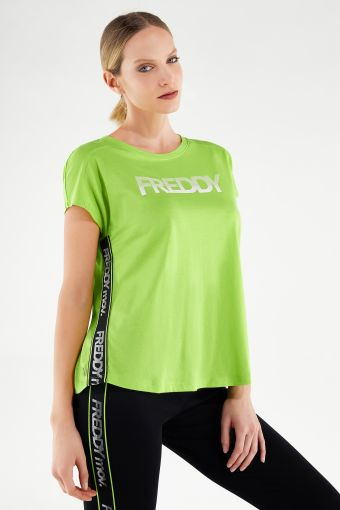 Comfort-fit athletic t-shirt with prints and jacquard ribbon