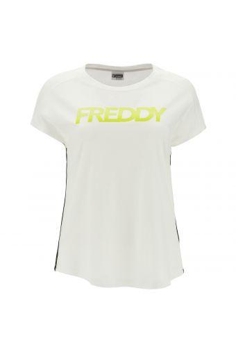 T-shirt fitness confortable avec imprimés et rubans en jacquard