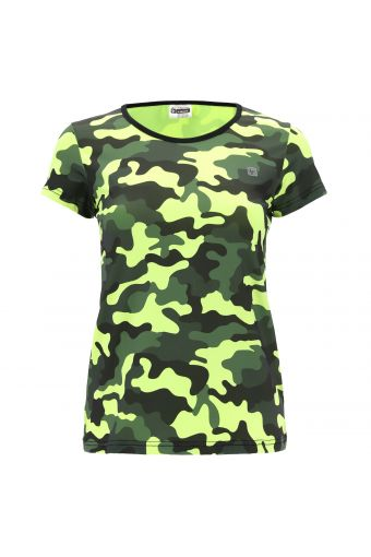 T-shirt fitness transpirant camouflage fluo